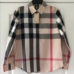 Women's Burberry Long Sleeve Button Up Shirt